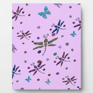 kleurrijke bloemen en libellen fotoplaat