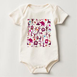 kleurrijke circuskarakters op wit baby shirt