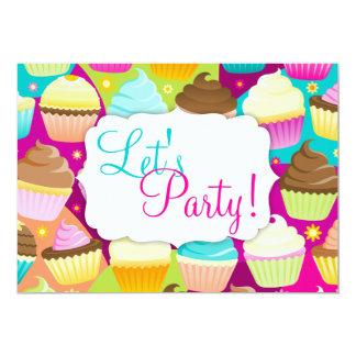 """Kleurrijke Cupcakes """"laten we Partij """" 12,7x17,8 Uitnodiging Kaart"""