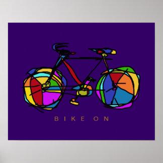 kleurrijke fiets op paars decor poster