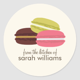 Kleurrijke Franse Macarons Ronde Sticker