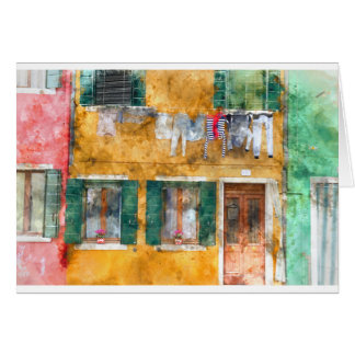 Kleurrijke Gebouwen in Venetië Italië Wenskaart