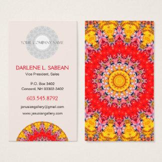 Kleurrijke Gedetailleerde Rode en Gele Mandala Visitekaartjes