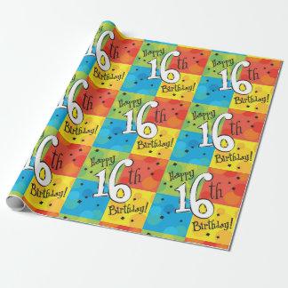 Kleurrijke Gelukkige 16de Verjaardag Inpakpapier