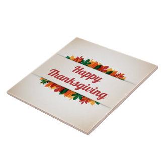 Kleurrijke Gelukkige Thanksgiving | van Bladeren Keramisch Tegeltje