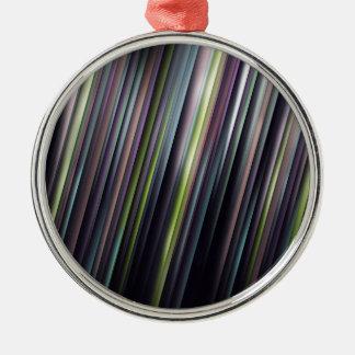 Kleurrijke Gloeiende Strepen Zilverkleurig Rond Ornament