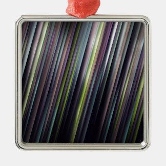 Kleurrijke Gloeiende Strepen Zilverkleurig Vierkant Ornament