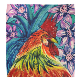 Kleurrijke Haan Watercolour Bandana