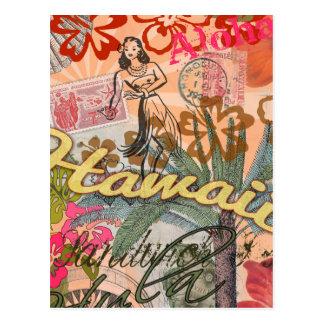 Kleurrijke Hawaiiaanse Tropisch van de vintage Briefkaart
