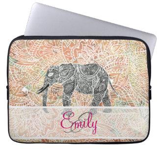 Kleurrijke Henna van de Olifant van Paisley van Laptop Sleeve Hoezen