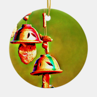 Kleurrijke Houten Klokkengelui Rond Keramisch Ornament