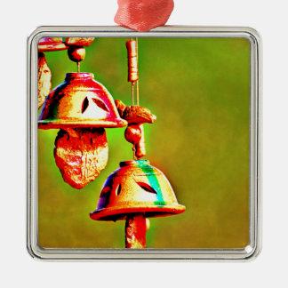 Kleurrijke Houten Klokkengelui Zilverkleurig Vierkant Ornament