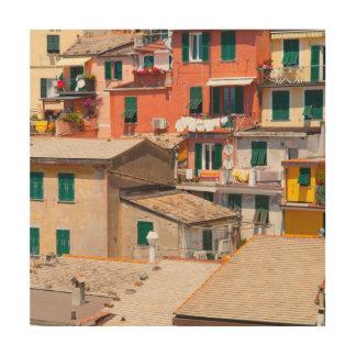 Kleurrijke Huizen in Cinque Terre Italië Hout Afdruk