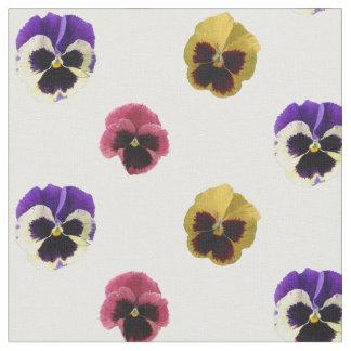 Kleurrijke Katoenen Pansies Stof