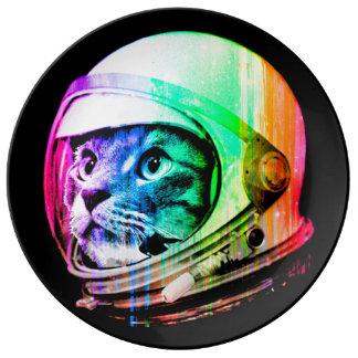 kleurrijke katten - de astronaut van de Kat - Porselein Bord