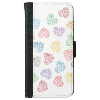 Kleurrijke kleine harten iPhone 6 portemonneehoesje