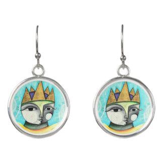 Kleurrijke Koningin Earrings - Zilver