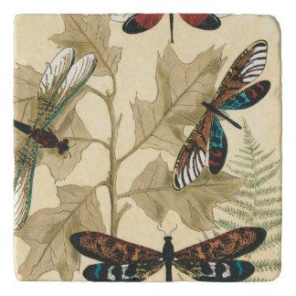 Kleurrijke Libellen die boven Bladeren drijven Trivet