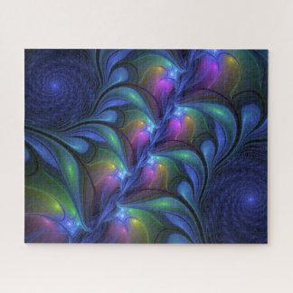 Kleurrijke Lichtgevende Abstracte Blauwe Roze Legpuzzel