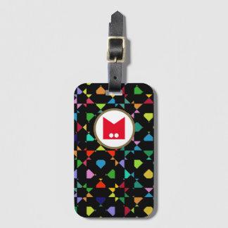 Kleurrijke m-hoofdletter bagagelabel
