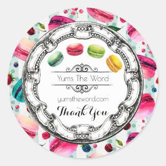 Kleurrijke Macarons in Van Bedrijfs waterverven Ronde Sticker