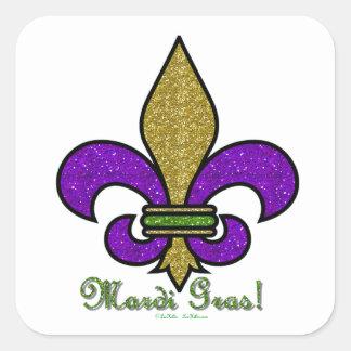 Kleurrijke Mardi Gras Fleur DE Lis Vierkante Sticker