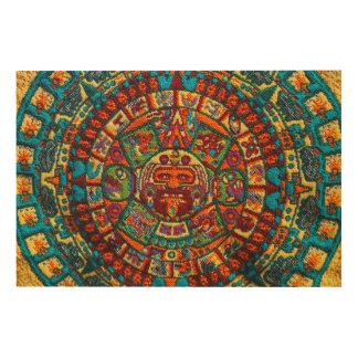 Kleurrijke Mayan Kalender Hout Afdruk