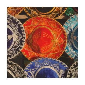 Kleurrijke Mexicaanse sombrero's Hout Afdruk