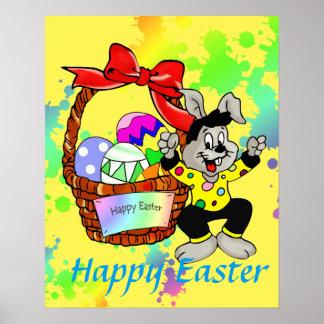 Kleurrijke Paaseieren in mand met het dansen Pasen Poster