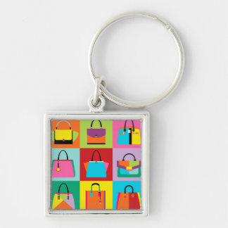 Kleurrijke pop-art vrouwelijke zakken keychain sleutelhanger