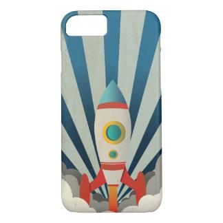 Kleurrijke Raket met Blauwe Stralen en Witte Rook iPhone 8/7 Hoesje