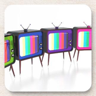 Kleurrijke retro tv's bier onderzetters