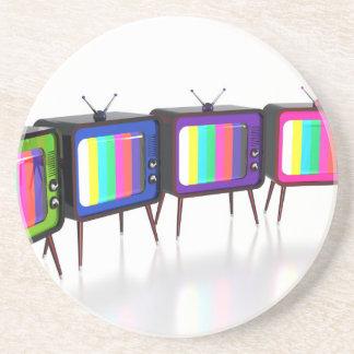 Kleurrijke retro tv's zandsteen onderzetter