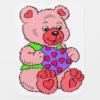 Kleurrijke Roze Teddybeer Inbakerdoek