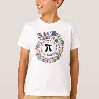 Kleurrijke spiraal van Cijfers van Pi T Shirt