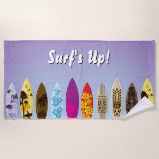 Kleurrijke Surfplanken van de branding de omhoog Strandlaken