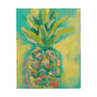 Kleurrijke Tropische Ananas Hout Afdruk