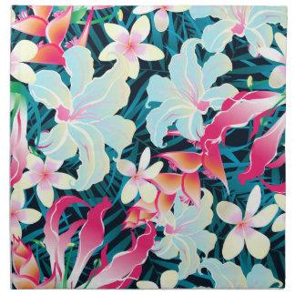 Kleurrijke tropische bloemen servet