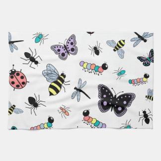 Kleurrijke VectorInsecten & Vlinders Theedoek