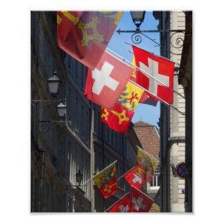Kleurrijke Vlaggen in Genève, Zwitserland Foto Afdruk