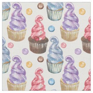 Kleurrijke waterverf cupcakes stof