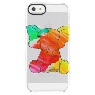 Kleurrijke waterverfhand getrokken olifant doorzichtig iPhone SE/5/5s hoesje