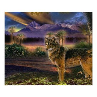 Kleurrijke wolf in het bos foto print