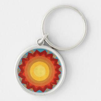 Kleurrijke zon zilveren keychain zilverkleurige ronde sleutelhanger