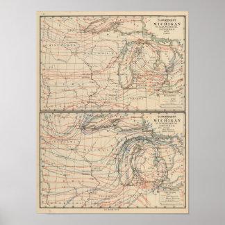 Klimatologie van de Atlas Mao van Michigan Poster