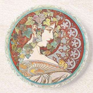 Klimop - Alphonse Mucha Ceramic Coaster Zandsteen Onderzetter