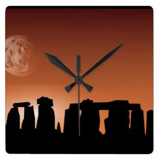 Klok van de de plaatszonsondergang van Stonehenge