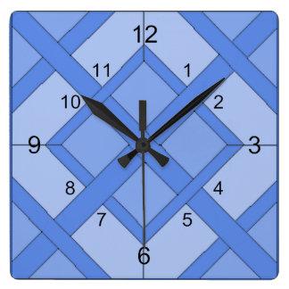 Klok - Verweven Vierkanten in Blauw