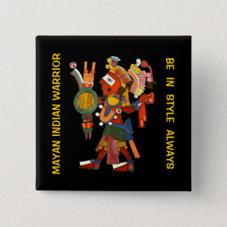 Knoop met de versierd Mayan Indische strijder Vierkante Button 5,1 Cm