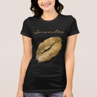 Knuffelt Zwarte en Gouden Lippenstift T Shirt